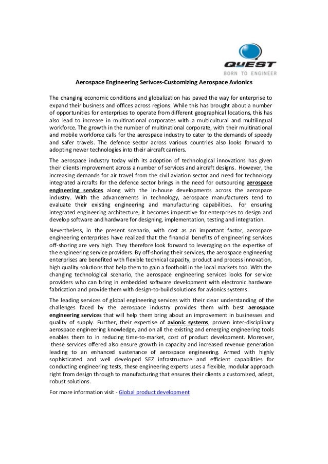 Aerospace Engineering Serivces-Customizing Aerospace Avionics  The changing economic conditions and globalization has pave...