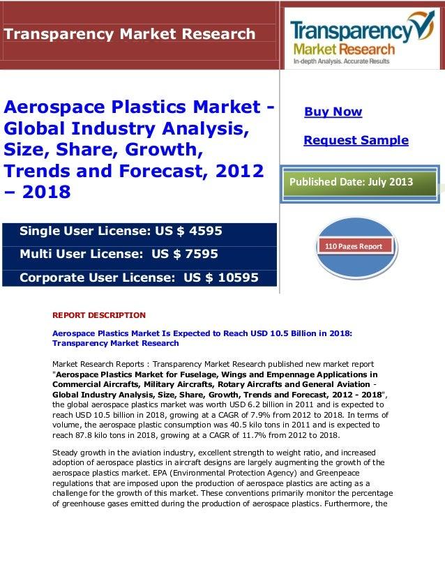 REPORT DESCRIPTION Aerospace Plastics Market Is Expected to Reach USD 10.5 Billion in 2018: Transparency Market Research M...