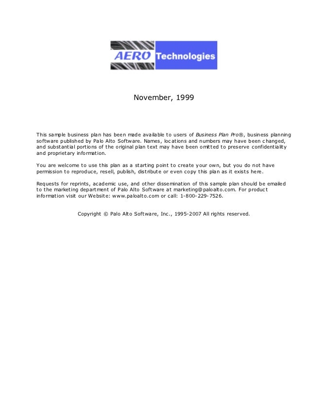 November, 1999This sample business plan has been made available to users of Business Plan Pro®, business planningsoftware ...