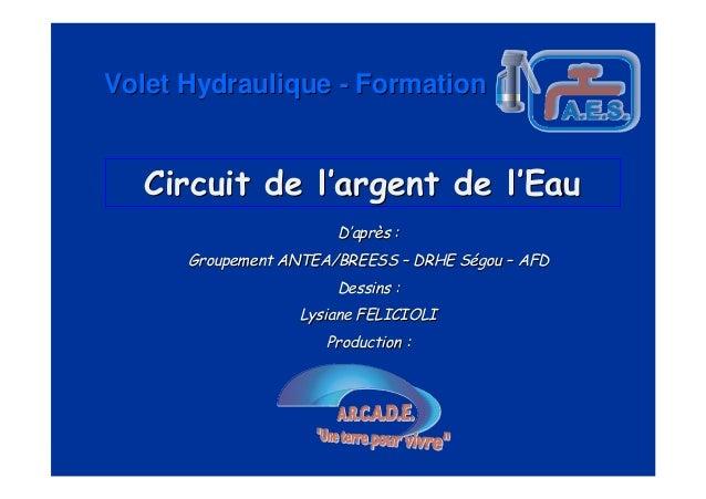 Volet Hydraulique - Formation   Circuit de l'argent de l'Eau                       D'après :      Groupement ANTEA/BREESS ...