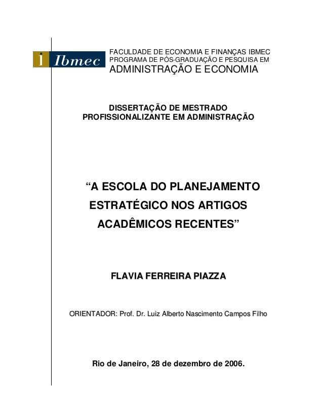 FACULDADE DE ECONOMIA E FINANÇAS IBMEC           PROGRAMA DE PÓS-GRADUAÇÃO E PESQUISA EM           ADMINISTRAÇÃO E ECONOMI...