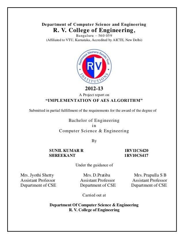 Department of Computer Science and Engineering  R. V. College of Engineering , Bangaluru – 560 059 (Affiliated to VTU, Kar...