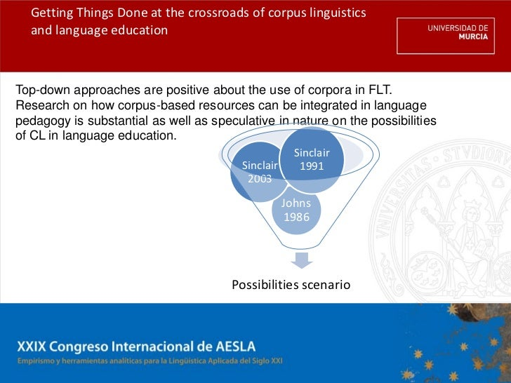 Getting Things Done at the crossroads of corpus linguistics  and language educationTop-down approaches are positive about ...