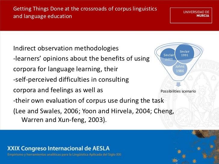 Getting Things Done at the crossroads of corpus linguisticsand language educationIndirect observation methodologies       ...