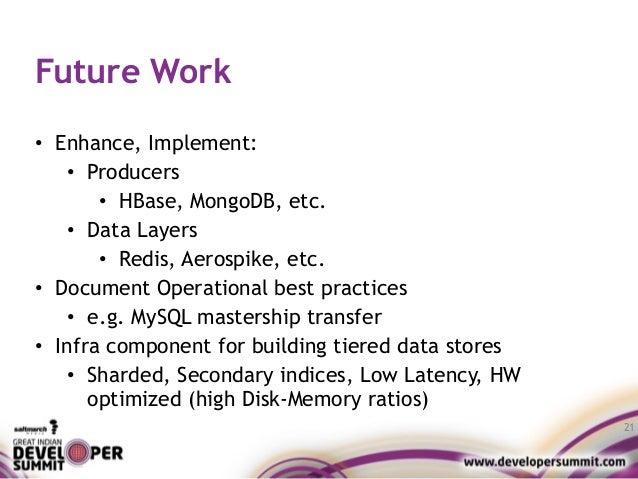 Future Work • Enhance, Implement: • Producers • HBase, MongoDB, etc. • Data Layers • Redis, Aerospike, etc. • Document Ope...