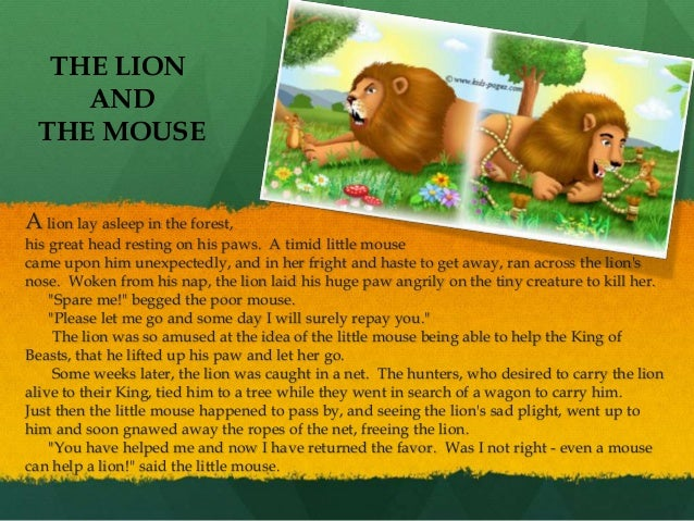 picture relating to The Lion and the Mouse Story Printable identify The Lion and the Mouse