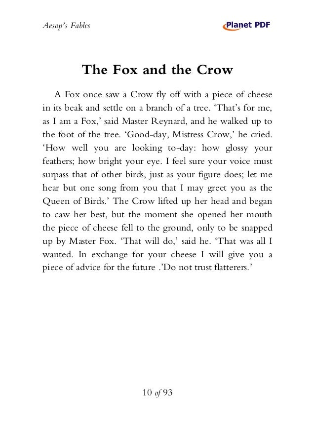 the fox and the crow story with pictures pdf