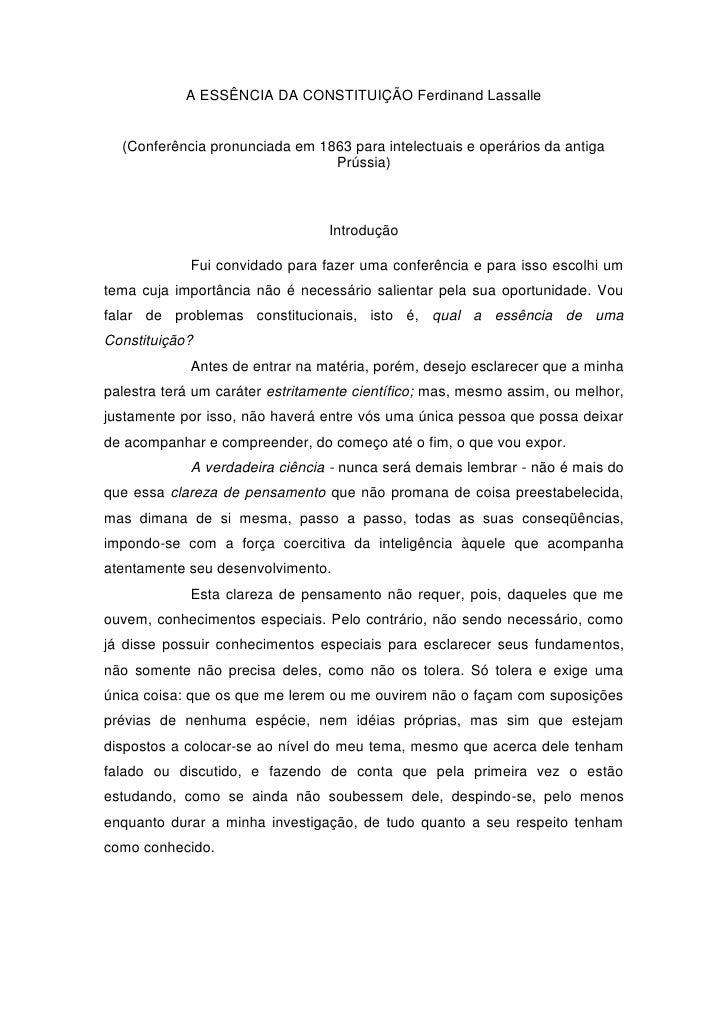 A ESSÊNCIA DA CONSTITUIÇÃO Ferdinand Lassalle  (Conferência pronunciada em 1863 para intelectuais e operários da antiga   ...