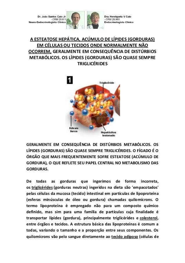 A ESTEATOSE HEPÁTICA, ACÚMULO DE LÍPIDES (GORDURAS) EM CÉLULAS OU TECIDOS ONDE NORMALMENTE NÃO OCORREM, GERALMENTE EM CONS...