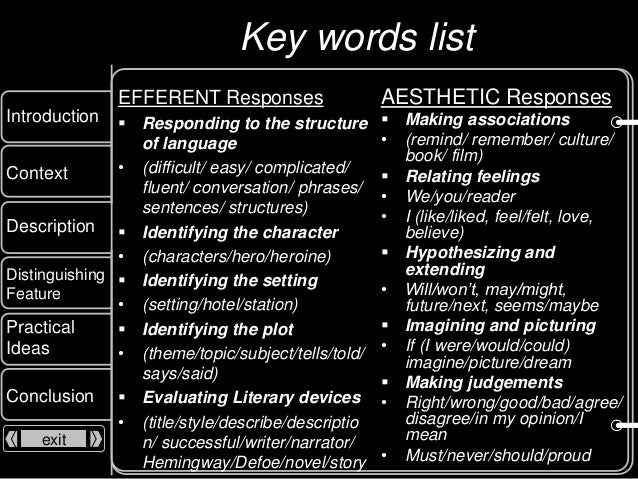 Efferent vs. Aesthetic Reading