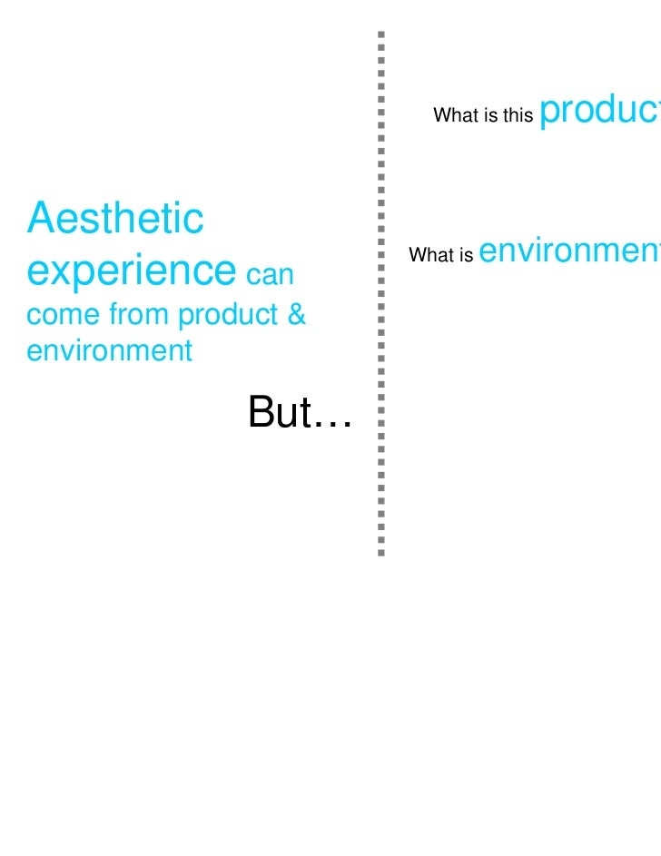 What is this   product   ?Aestheticexperience can                      What is   environment      ?come from product &envi...