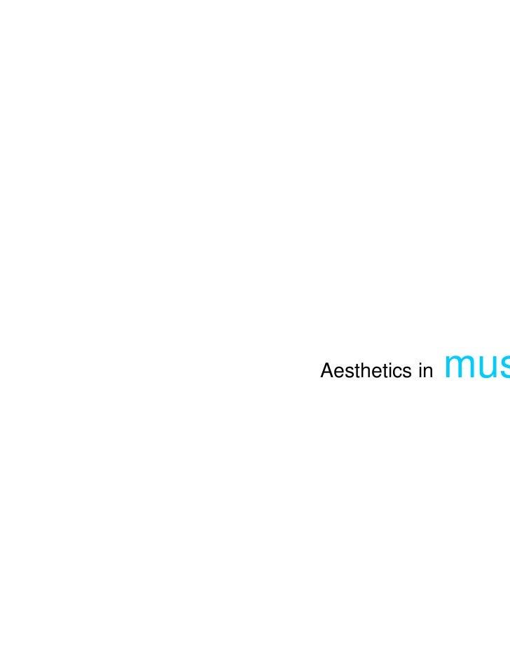 Aesthetics in   performing arts