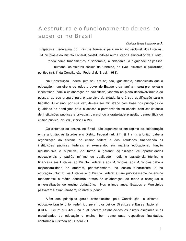 A estrutura e o funcionamento do ensinosuperior no Brasil                                                                 ...