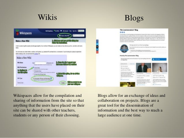 Wikis Wikispaces allow for the compilation and sharing of information from the site so that anything that the users have p...