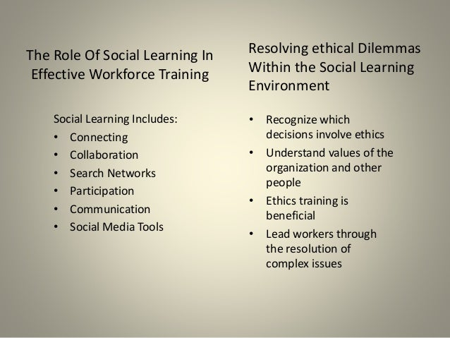 The Role Of Social Learning In Effective Workforce Training Social Learning Includes: • Connecting • Collaboration • Searc...
