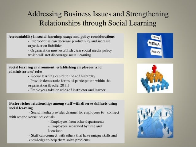 Addressing Business Issues and Strengthening Relationships through Social Learning Accountability in social learning: usag...