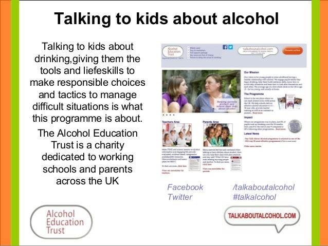 Talking to kids about alcohol  Talking to kids about  drinking,giving them the  tools and liefeskills to  make responsible...