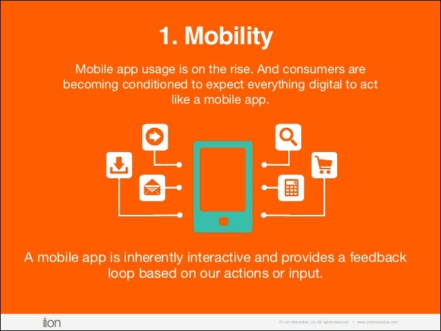 © i-on interactive, inc. All rights reserved • www.ioninteractive.com 1. Mobility Mobile app usage is on the rise. And con...