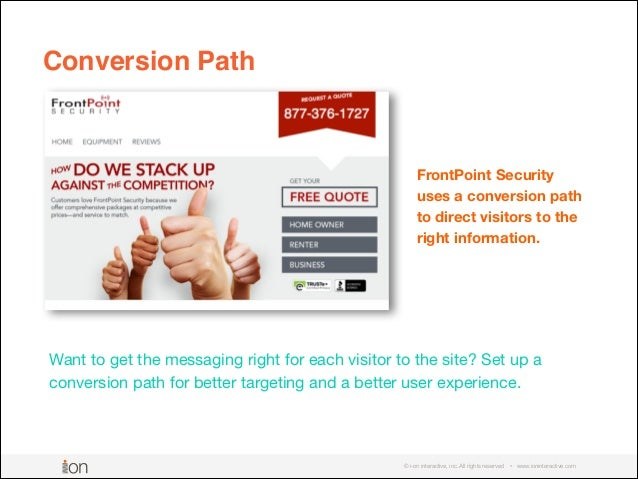 © i-on interactive, inc. All rights reserved • www.ioninteractive.com Want to get the messaging right for each visitor to ...