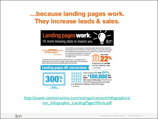 © i-on interactive, inc. All rights reserved • www.ioninteractive.com …because landing pages work. They increase leads & s...