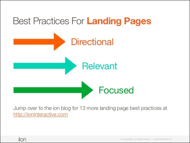 © i-on interactive, inc. All rights reserved • www.ioninteractive.com Best Practices For Landing Pages Directional Relevan...