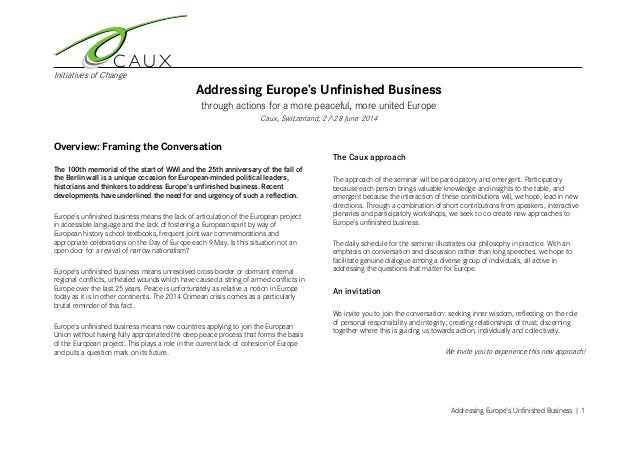 Initiatives of Change Addressing Europe's Unfinished Business | 1 Addressing Europe's Unfinished Business through actions ...