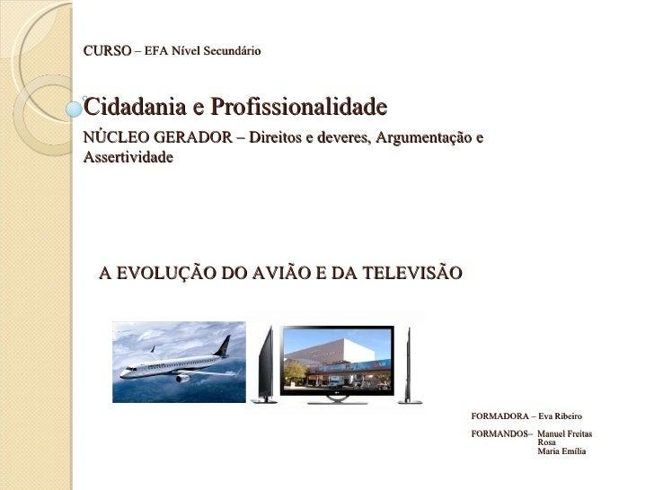 A EVOLUÇÃO DO AVIÃO E DA TELEVISÃO NÚCLEO GERADOR – Direitos e deveres, Argumentação e Assertividade Cidadania e Profissio...