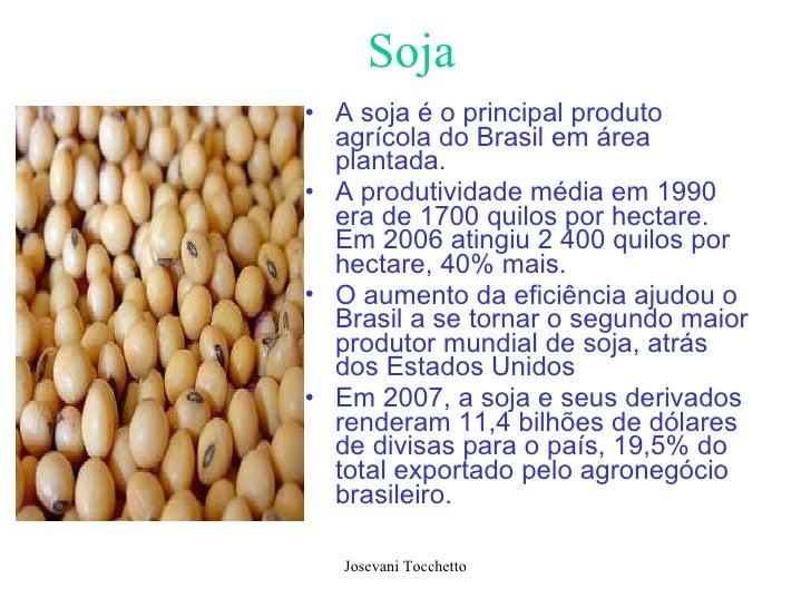 Soja <ul><li>A soja é o principal produto agrícola do Brasil em área plantada.  </li></ul><ul><li>A produtividade média em...
