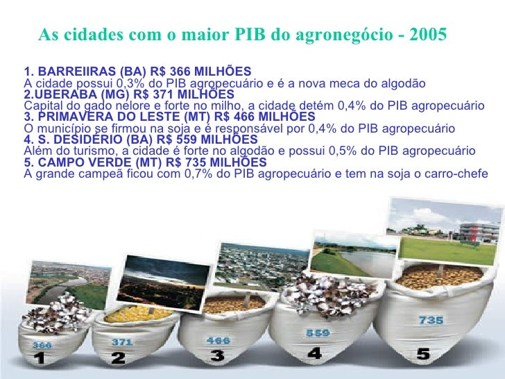 As cidades com o maior PIB do agronegócio - 2005 <ul><li>1. BARREIIRAS (BA)   R$   366   MILHÕES A cidade possui 0,3% do P...