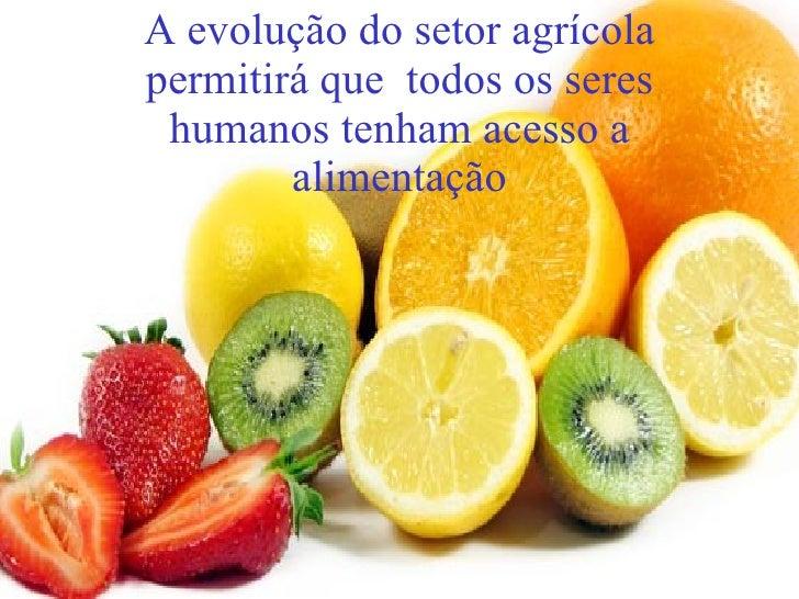 A evolução do setor agrícola permitirá que  todos os seres humanos tenham acesso a alimentação