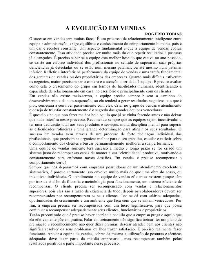 A EVOLUÇÃO EM VENDAS                                                                       ROGÉRIO TOBIAS O sucesso em ven...