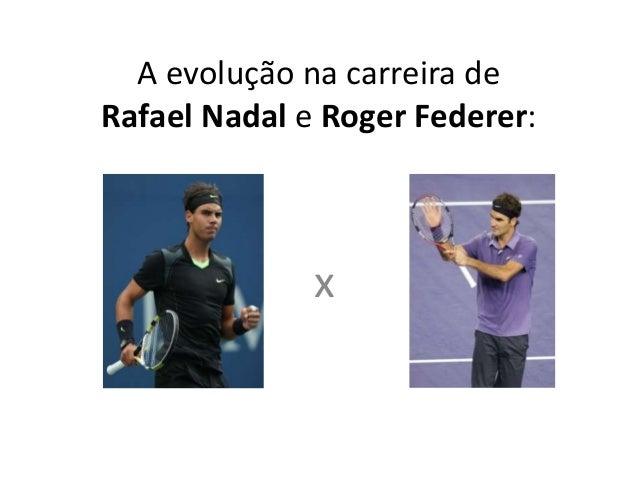 A evolução na carreira de Rafael Nadale Roger Federer:<br />x<br />