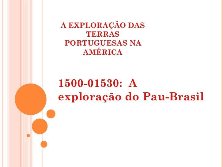A EXPLORAÇÃO DAS TERRAS PORTUGUESAS NA AMÉRICA 1500-01530:  A exploração do Pau-Brasil