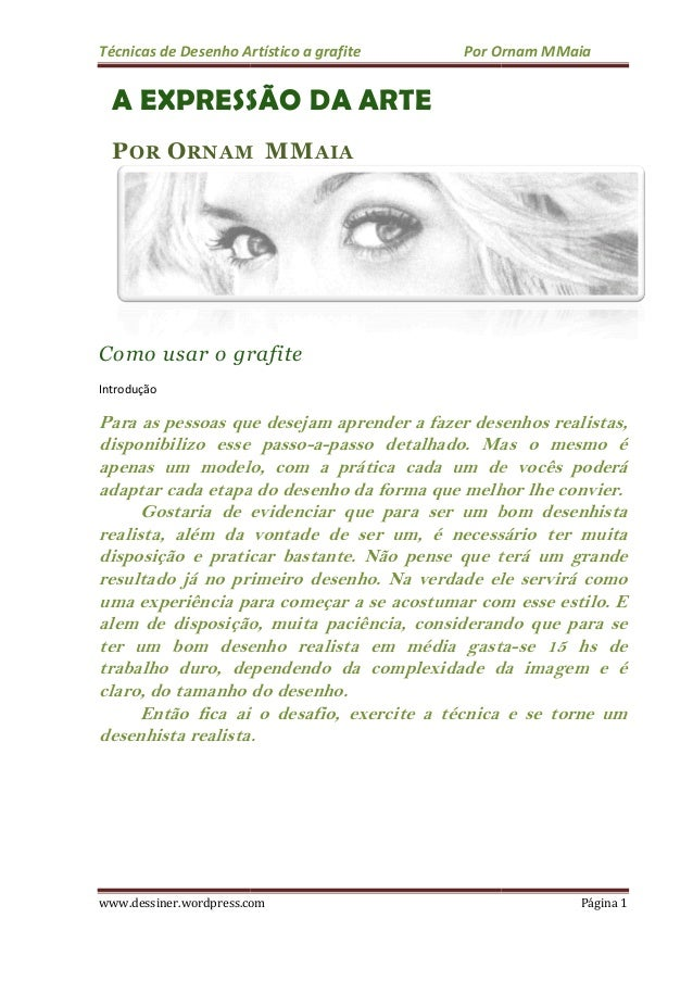 Técnicas de Desenho Ar www.dessiner.wordpress.com A EXPRESSÃO POR ORNAM Como usar o grafite Introdução Para as pessoas que...