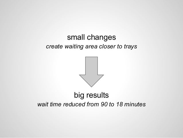 small changes create waiting area closer to trays big results wait time reduced from 90 to 18 minutes