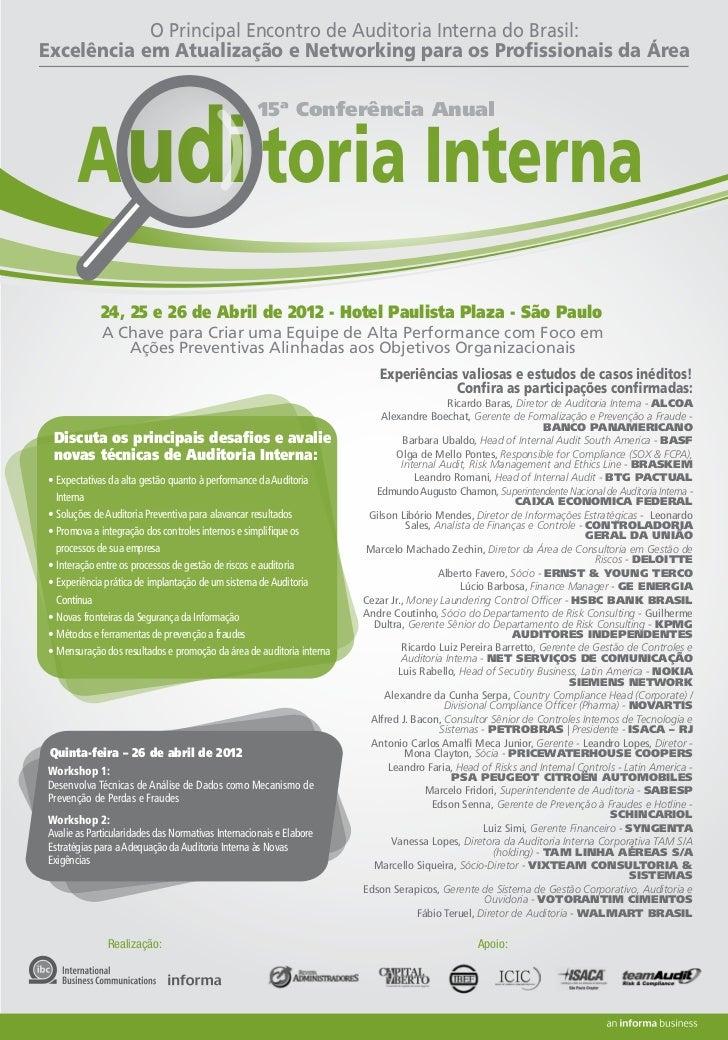 O Principal Encontro de Auditoria Interna do Brasil:Excelência em Atualização e Networking para os Profissionais da Área   ...