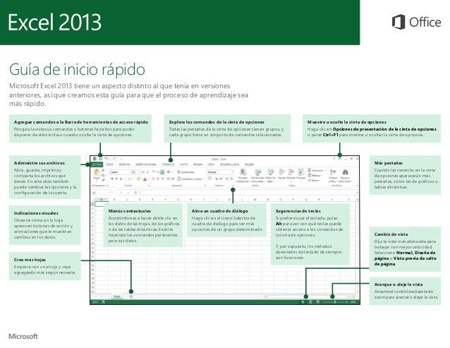 Guía de inicio rápido Microsoft Excel 2013 tiene un aspecto distinto al que tenía en versiones anteriores, así que creamos...