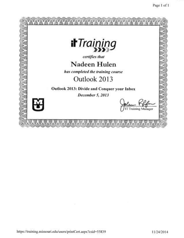 Outlook 2013 Certificate