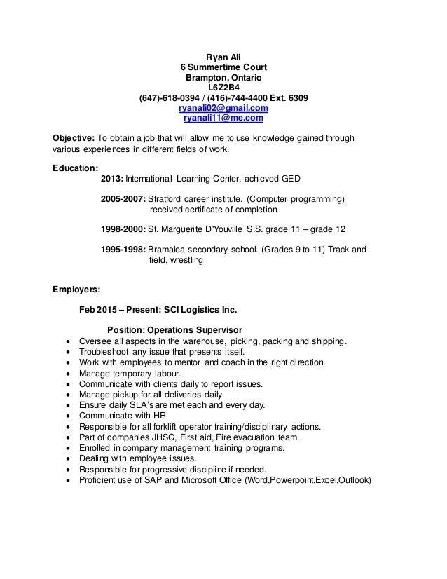 Resume brampton