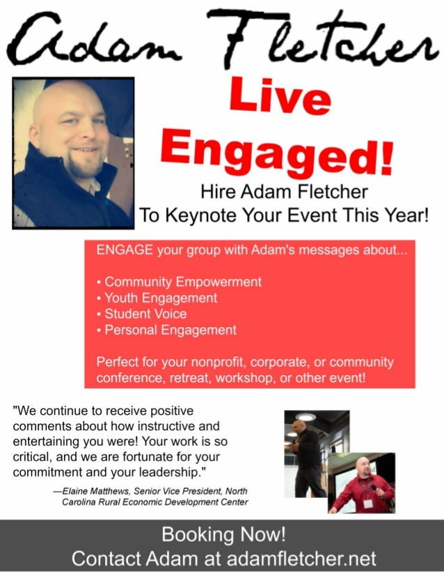 Adam Fletcher's 2013 Speaker Flyer