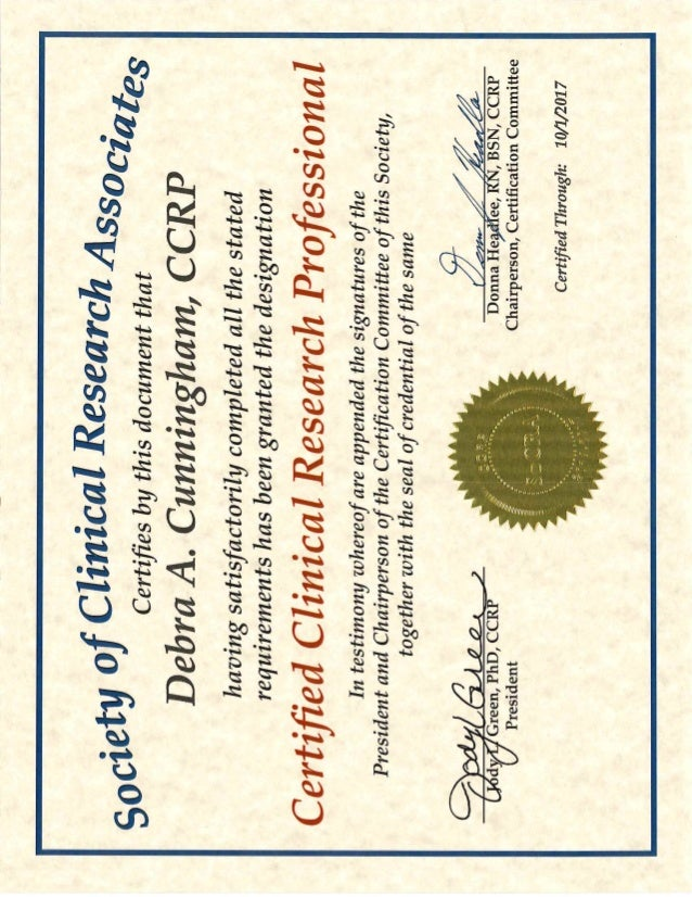 Free Professional Resume Clinical Research Certification