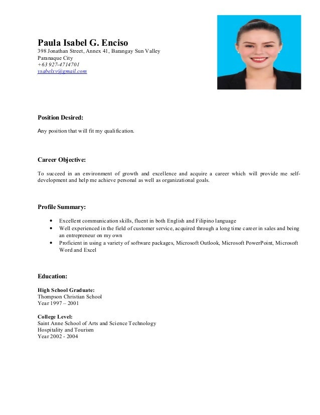 Resume For Any Position Kubreforic