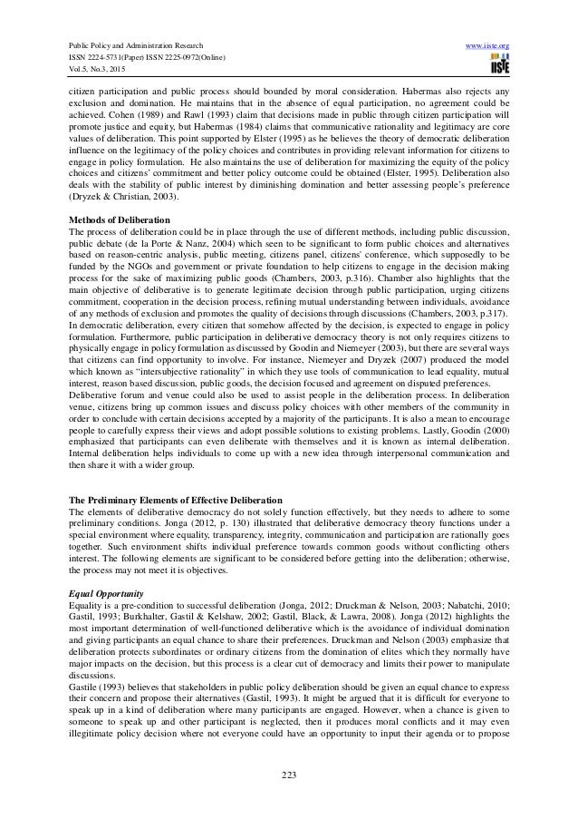 deliberative democracy thesis 2 this thesis considers the two models of democracy, representative and deliberative, with particular reference to how adequately they acknowledge the.