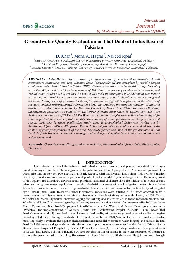 International OPEN  Journal  ACCESS  Of Modern Engineering Research (IJMER)  Groundwater Quality Evaluation in Thal Doab o...
