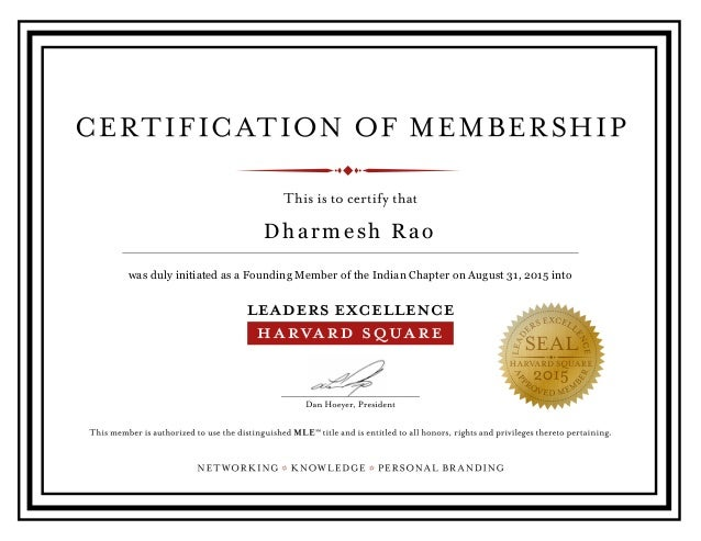 Dharmesh Rao - Leadership Excellence Certificate Harvard Square