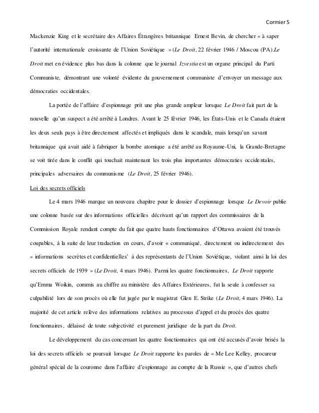 Cormier5 Mackenzie King et le secrétaire des Affaires Étrangères britannique Ernest Bevin, de chercher « à saper l'autorit...