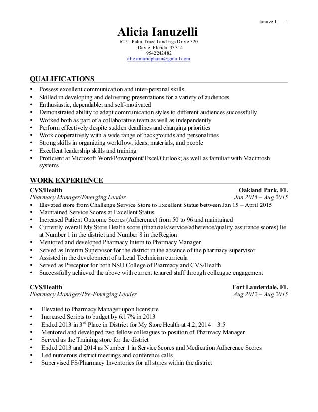 Ianuzelli, 1 Alicia Ianuzelli 6251 Palm Trace Landings Drive 320 Davie,  Florida, ...  Cvs Resume Paper