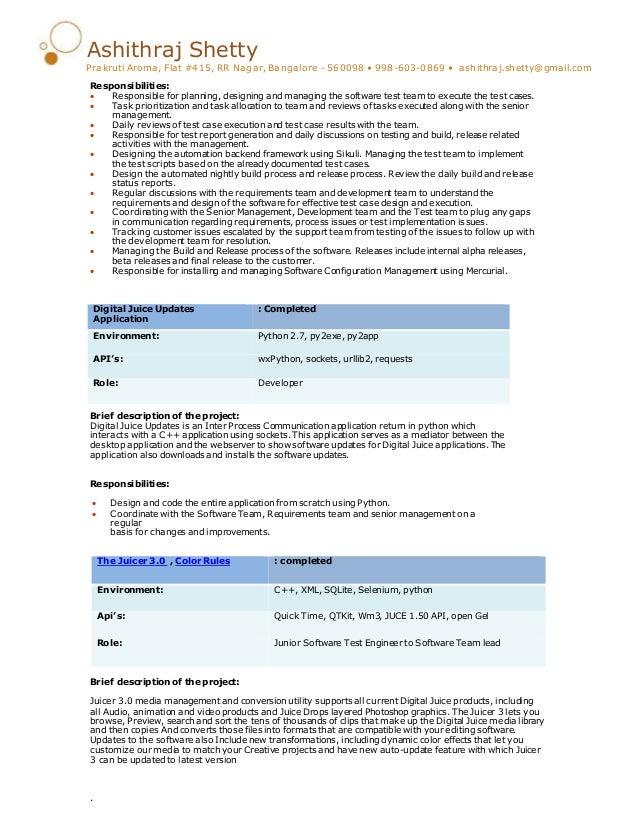 automation test lead resume