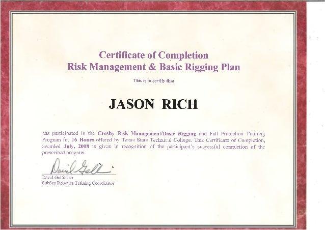 Rigging Certificate