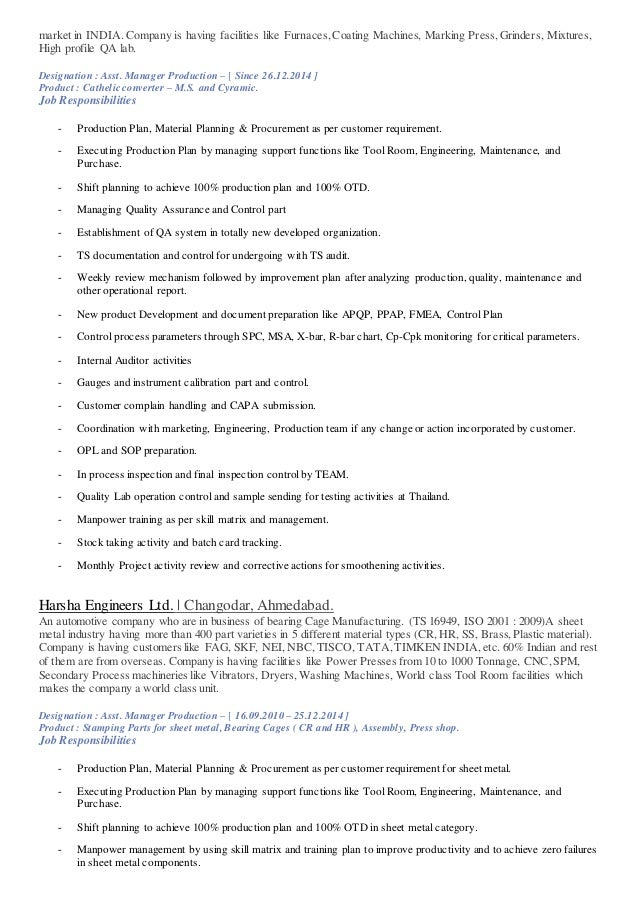 best production engineer responsibilities resume images simple